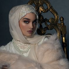 High-End Luxury Hijabs Are Trying To Change Everyone's Perspective On Muslim H. High-End Luxury Hijabs Are Trying To Change Everyone's Perspective On Muslim H. Wedding Hijab Styles, Hijab Wedding Dresses, Hijab Dress, Modest Dresses, Bridal Hijab, Hijab Bride, Head Accessories, Hair Accessories For Women, Bridal Accessories