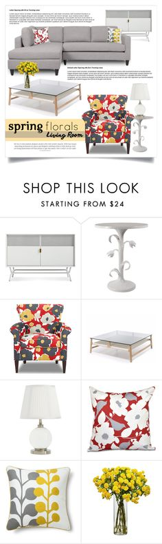 """""""Spring Florals 1355"""" by boxthoughts ❤ liked on Polyvore featuring interior, interiors, interior design, home, home decor, interior decorating, Alden, e by design, Room Essentials and Nearly Natural"""
