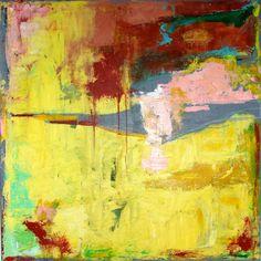 YELLOW ABSTRACT PAINTING Original Acrylic Art Painting Large Yellow and Gray 3 ft x 3 ft Large Art by Cheryl Wasilow. ABSTRACT MINIMALIST