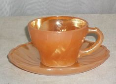 Vintage Fire King Peach Lustre Luster Swirl by ShonnasVintage Antique Dishes, Vintage Dishes, Vintage Kitchen, Tea Cup Saucer, Tea Cups, Vintage Fire King, Anchor Hocking, Pyrex, Milk Glass
