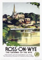 Ross On Wye Herefordshire Vintage GWR Travel poster by Claude Buckle 1938 Posters Uk, Train Posters, Railway Posters, Poster Ads, Illustrations And Posters, History Posters, British Travel, National Railway Museum, Herefordshire