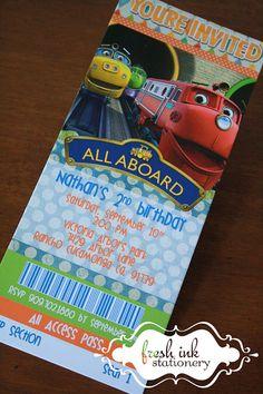 Chugginton Train Ticket Birthday Invitation by FreshInkStationery, $1.30