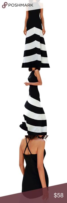 Women's Classy Halter Black White Maxi Dresses Materials: 96% Cotton and 4% Spandex Sleeveless, Backless, Full Long Maxi Dress with Black and White Striped Dress Classic Black and White Color matching, Rockabilly Swing with Full Long Style Dress Dresses Maxi