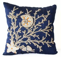 Amore Beaute Decorative Pillow Case-nautical Oceanic Pillow Cover-navy Blue Throw Pillow Cover with Tan Burlap Dori Embroidery- Handcrafted Pillows- Modern Home Decor-gift * You can get additional details at the image link. (This is an affiliate link) Navy Blue Cushions, Navy Blue Throw Pillows, Blue Pillow Cases, Blue Cushion Covers, Coral Pillows, Nautical Pillows, Decorative Pillow Cases, Pillow Covers, Toss Pillows