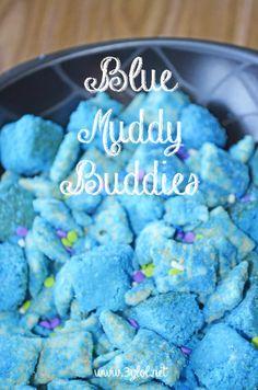 Blue Muddy Buddies. Turn your Muddy Buddies BLUE!! #muddybuddies #puppychowmix #snack http://www.3glol.net