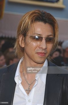 Yoshiki (Japanese singer) arriving at the World premiere of 'Pirates of the Caribbean: The Curse of the Black Pearl.'