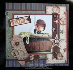 For Josh's cowboy days: Rustic Boy's Page...with boot, sheriff's badge, & sign.