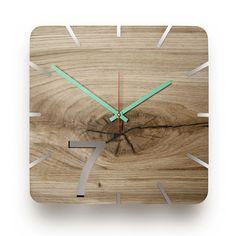 Wood wall clock oak oak seven natural, Wall Clock Oak, Wall Clock Design, Wood Clocks, Bohemian House, Diy Holz, Wooden Walls, Wood Doors, Wood Watch, Simple Designs
