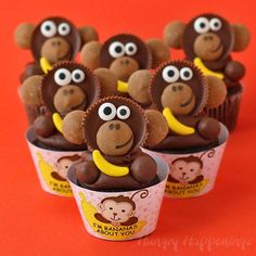 """I'm Bananas About You"" Cupcake with a Reese's Cup Monkey for Valentine's Day. I am, you know! Thanks:) http://www.hungryhappenings.com/2015/02/valentines-day-im-bananas-about-you-cupcakes.html"