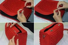 ergahandmade: Crochet Bag + Diagram + Step By Step Tutorials Very elegant and beautiful, this crochet bag. See how to make an elegant crochet bag. It's a wonderful crochet job. Surprise someone with this spectacular crochet bag. This Pin was discovered Crochet Handbags, Crochet Purses, Free Crochet Bag, Knit Crochet, Crochet Bags, Crochet Stitches, Crochet Patterns, Crochet Diagram, Knitting Patterns