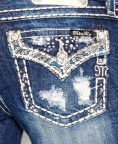 Miss Me Paisley Embellished Bootcut Jeans, Medium Blue Wash