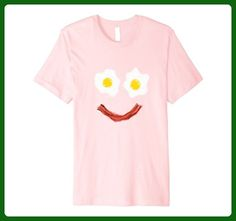 Mens Happy Smiley Face Bacon and Eggs Breakfast T Shirt 2XL Pink - Food and drink shirts (*Amazon Partner-Link)