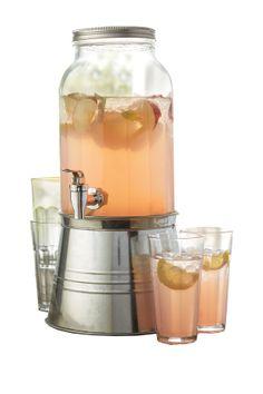 Clear Newport 6 Piece Beverage Dispenser Set