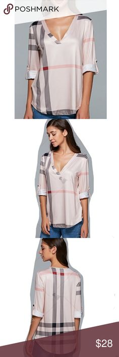🔜BRITTNEY Pale Pink Plaid Blouse COMING SOON! Pale pink checkered plaid print blouse. V-neck with 3/4 sleeves, lightweight. Polyester. Please choose one size up. Tops Blouses