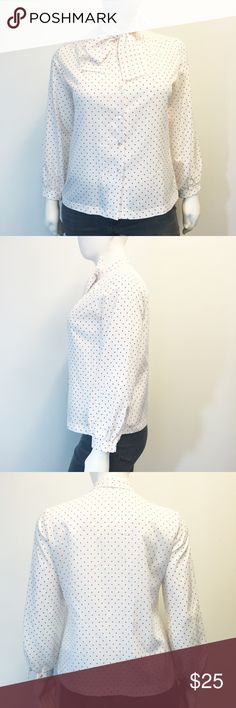 "Vintage Polka Dot Blouse Beautiful vintage polka dot blouse from vintage label Styled By Terry Chicago! White with small red polka dots. Tie front bow. In perfect condition, it does not look like it has ever been worn! Smoke and pet free home. This is a size 18 but vintage clothes can fit differently than modern clothes. Please double check your measurements. 23.5"" armpit to armpit. 23.5"" waist. 26"" long shoulder to hem. 23.5"" long sleeves. Styled By Terry Chicago Tops Blouses"