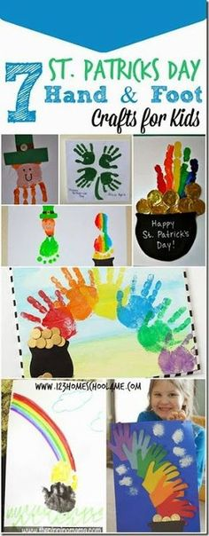 7 St. Patricks Day Hand and foot crafts for kids - so many really cute and clever kids activities for march
