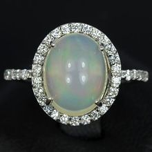 Sparkly White Opal Ring & White Sapphires