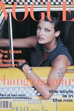リンダ・エヴァンジェリスタ(Linda Evangelista)| この表紙も有名で、スーパーモデルの中でも唯一女性らしくない?モデルのリンダだからこそ、かっこいい~。何やってもリンダっす。