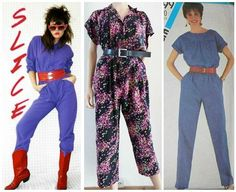Two 80s Jumpsuits and a Dots Pattern Summer Romper Suit (centre)