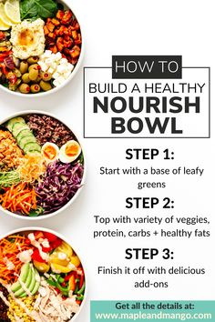 Looking for a balanced, nutritious, delicious and easy to make meal idea? Learn how to build a healthy nourish bowl - great for lunch, dinner and meal prep! Healthy Carbs, Healthy Meal Prep, Healthy Eating, Healthy Lunches, Healthy Food, Yummy Food, Healthy Salads, Tasty, Hummus
