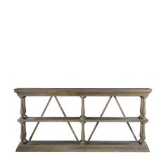 Solid weathered oak console table with architectural cross stretchers for support and design. May cup or bow slightly over time. - Size: 78*15.5*35.5 - Oak - Weathered Natural Oak Finish (E272) - 33.1