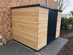 house # Garden shed # Garden shed – Modern Carport Modern, Garage Door Makeover, Garage Door Design, Home Grown Vegetables, Timber Cladding, Floor Layout, Shed Homes, Bike Storage, Garden Care