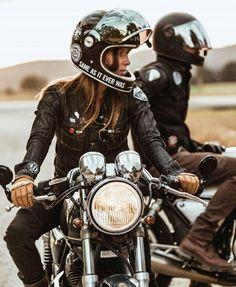 """bikerkissofficial: """"wakeourworld: """"(via TumbleOn) """" Biker Kiss Officia. bikerkissofficial: """"wakeourworld:"""" (via TumbleOn) """"Biker Kiss Officia . - Inspire Motorcycle Around the World Suzuki Cafe Racer, Cafe Racers, Motorbike Girl, Motorcycle Style, Biker Style, Motorcycle Helmets, Women Motorcycle, Racing Helmets, Motorcycle Accessories"""