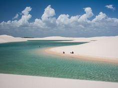 At first glance, the Lencois Maranhenses Sand Dunes of northeastern Brazil look like your average set of sand dunes, but the valleys are filled with water since the low-lying lands often flood during the wet season. Fish even live in the pools.