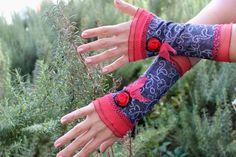 Jeans gloves Blue fingerless gloves embroidered gloves Blue