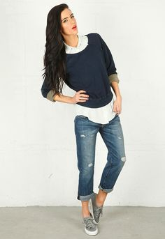 Boyfriend Jeans & Sneakers; love this casual look--I have the boyfriend jeans, but I need everything else, lol