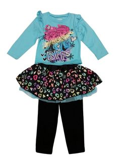 """Little Girls Turquoise Frozen Bff Heart Tutu Pants Toddler Outfit Set 3T. Cute 2 piece tutu outfit brings out an animated flair. Top features a picture with cartoons Frozen characters Elsa and Anna """"BFF"""". Blue background. Pants with satin patterned layered tutu skirt. All sizes based on US standard sizing."""
