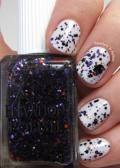 SBP: Yeti is a scaredy cat  Description: Clear based glitter topper. Black & purple hexes & squares, Black heart and mini star glitters, sparse orange hexes, sparse glow in the dark star glitter (they look clear)