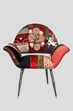 Jeddah Arm Chair - Under the Sycamore- the rich fabrics soften and warm the modern lines...I like that!