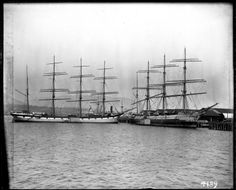 Sailing ships docked at Hastings Mill, (Photo by C. Old Sailing Ships, Classic Yachts, Wooden Ship, Sail Away, Photographic Studio, Tall Ships, Ocean Life, West Coast
