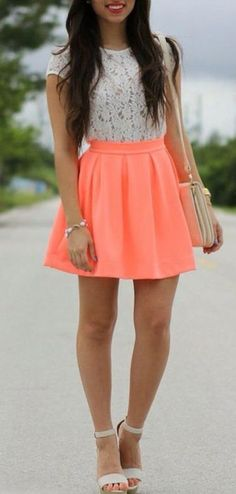 Neon coral skater skirt with a lace top and nude wedges! If you like my pins, please follow me and subscribe to my fashion channel on youtube! It's free! Let me help u find all the things that u love from Pinterest! https://www.youtube.com/channel/UCCP8TXebOqQ_n_ouQfAfuXw #morninglavender #valentinesday