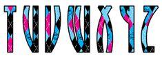 Alfabeto Monster High con fondo de rombos.