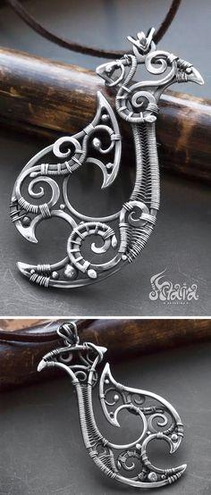 Sterling silver big wire wrapped Hawaiian Maori Hei Matau fish hook pendant