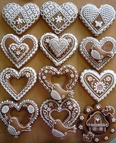 Fancy Cookies, Iced Cookies, Holiday Cookies, Sugar Cookies, Christmas Gingerbread, Gingerbread Cookies, Christmas Hearts, Galletas Cookies, Wedding Cookies