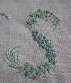 Hand Embroidery Monogram Letter S...so pretty and delicate...and the first letter of my name!