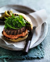 BLT Burger with Garlicky Mayonnaise Recipe from Food & Wine, as with all of the burgers I post, I use turkey or veggies, but my husband doesn't. We grill and dress them the same!