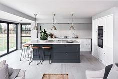 Good kitchen themes cupboards for the kitchen,long kitchen design layout white kitchen island on wheels,vintage kitchen cabinets contemporary kitchen shelves. Kitchen Diner Extension, Open Plan Kitchen Diner, Open Plan Kitchen Living Room, Kitchen Dining Living, Home Decor Kitchen, New Kitchen, Kitchen Ideas, Kitchen Tips, Awesome Kitchen
