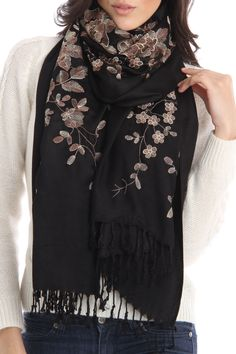 Embroidered Flowers Scarf In Black