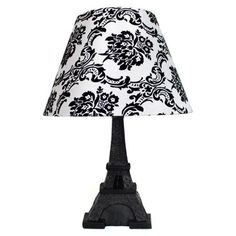 Simple Designs Paris Eiffel Tower Lamp and Printed Shade Black and White Damask Print