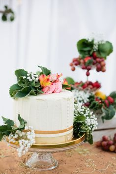 Charming Gold, Pink & Maroon wedding ideas with forest fruits! Beautiful Cake!