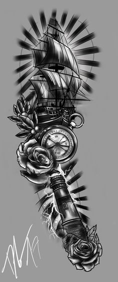 Fullsleeve Design based on some Sailor Elements and Themes. Produced on iPad Pro with Apple Pencil and Procreate in 1 hour and 48 minutes. FULLSLEEVE Design - Storm and Sailor Back Hip Tattoos, Forarm Tattoos, Forearm Tattoo Men, Body Art Tattoos, Tattoos For Guys, Forearm Sleeve, Design Tattoo, Tattoo Sleeve Designs, Flower Tattoo Designs