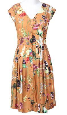 Brown V Neck Short Sleeve Floral Buttons Pleated Dress - Sheinside.com
