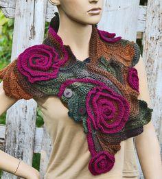 Crochet  Scarf Capelet,Schadows Brown,Purpl Roses, wool,acrylic Woman's Shawl Cape, Free Form Crocheted Cap, Neck Warmer, Freeform crochet