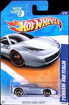 """Mattel Year 2010 Hot Wheels """"FASTER THAN EVER"""" Series Set (6/10) 1:64 Scale Die Cast Car (146/244) - Silver Color Mid-Engined Sports Coupe FERRARI 458 ITALIA by Mattel. $4.97. Realistic Details. For age 3 and up. Diecast Metal and Plastic Parts. 1:64 Scale. Mattel Year 2010 Hot Wheels """"FASTER THAN EVER"""" Series Set (6/10) 1:64 Scale Die Cast Car (146/244) - Silver Color Mid-Engined Sports Coupe FERRARI 458 ITALIA"""