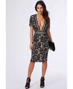Jess Mixed Lace Deep V Midi Dress Black