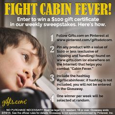 "Win one of five $100 gift certificates in the ""Cabin Fever"" Giveaway! on http://blog.gifts.com"